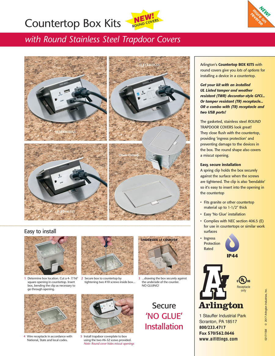 Arlington Countertop Box Kits With Trapdoor Covers Wiring Kitchen Counter Outlets Download The Specification Sheet Watch