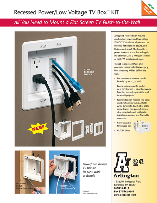 Arlington Recessed PowerLow Voltage TV Box Kit