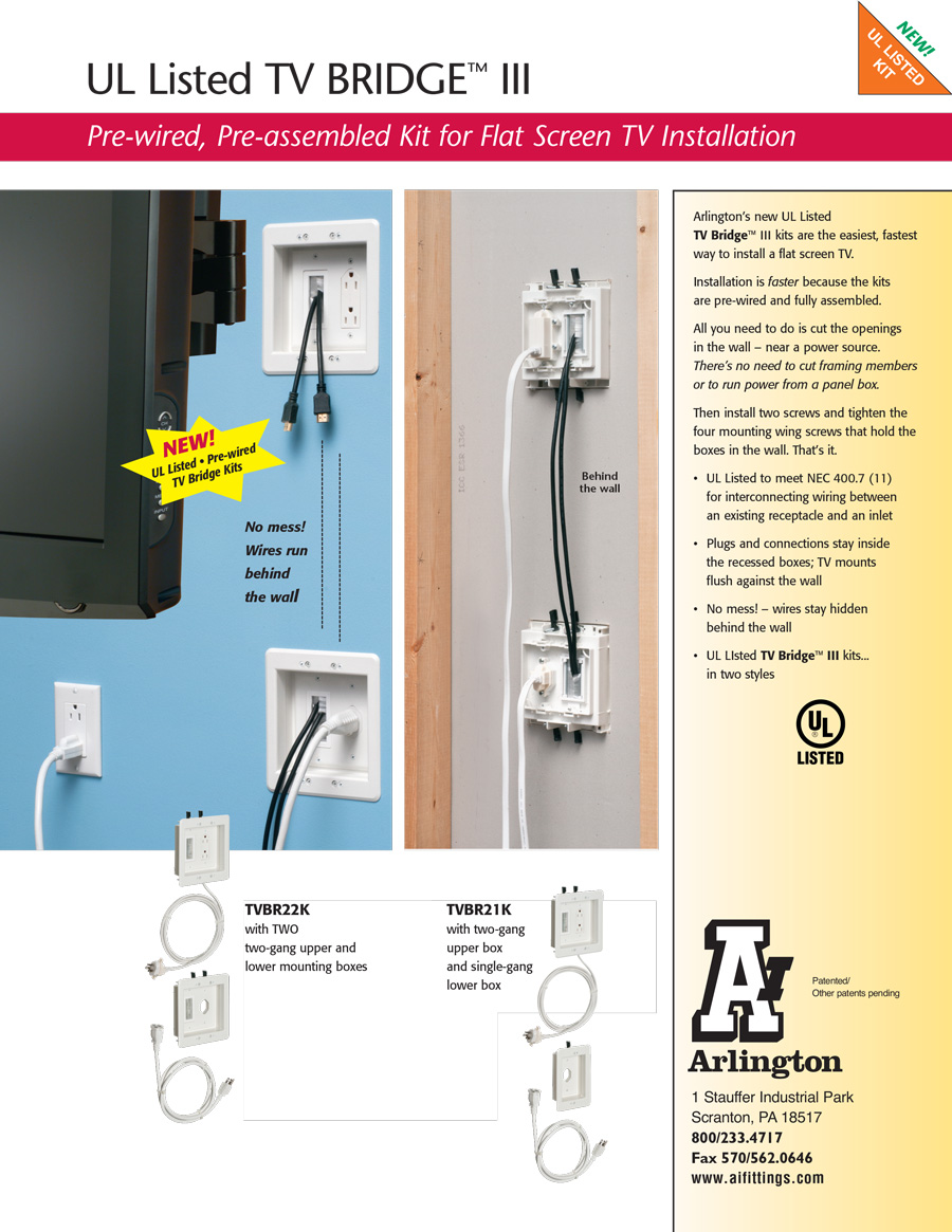 Arlington Ul Listed Tv Bridge Iii Kits Wiring Receptacles In Parallel Download The Specification Sheet Watch