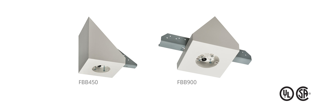 Arlington fanfixture mounting boxes both have installed steel mounting brackets that save time and money in new construction installations for added convenience the bracket is pre drilled aloadofball Images